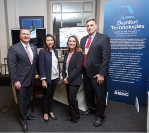 Michael Myhre, CEO of the Florida SBDC Network; U.S. Congresswoman Stephanie Murphy; and Elizabeth and Bob Burch at the 2018 Client Showcase and Reception