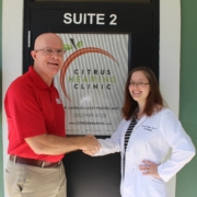 FSBDC - Lake County Area Manager Eddie Hill with Citrus Hearing Clinic's Dr. Laura Bradley Pratesi, AuD