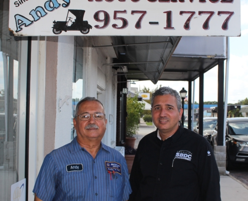 Andy St. Denis of Andy's Auto Service with Rafael Pratts of the Florida SBDC at UCF - Osceola